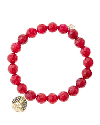 8mm Faceted Red Agate Beaded Bracelet with 14k Gold/Diamond Sitting Buddha ...