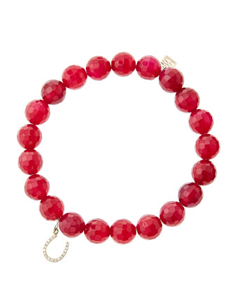 8mm Faceted Red Agate Beaded Bracelet with 14k Yellow Gold/Micropave ...
