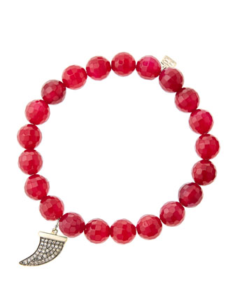 8mm Faceted Red Agate Beaded Bracelet with 14k Gold with Diamond Medium ...
