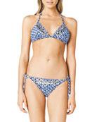 Triangle Beaded Bikini Top & Tie-Side Beaded Swim Bottom