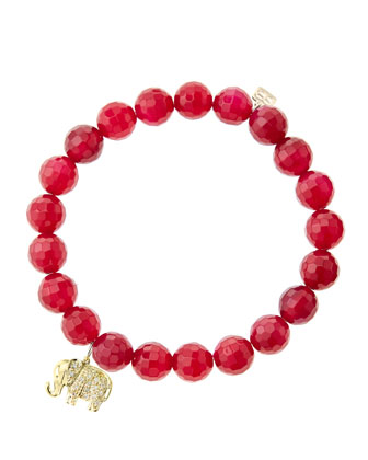 8mm Faceted Red Agate Beaded Bracelet with 14k Gold/Diamond Small Elephant ...
