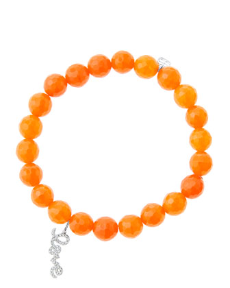 8mm Faceted Orange Agate Beaded Bracelet with 14k White Gold/Diamond Love ...