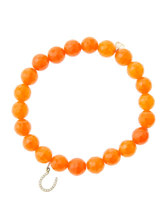 8mm Faceted Orange Agate Beaded Bracelet with 14k Yellow Gold/Micropave ...