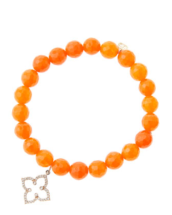 8mm Faceted Orange Agate Beaded Bracelet with 14k Rose Gold/Diamond ...