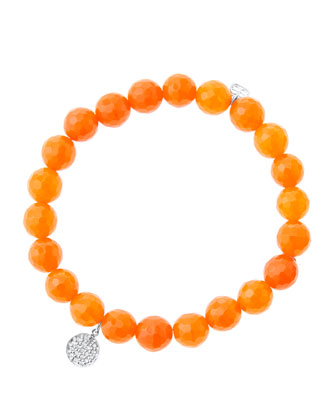 8mm Faceted Orange Agate Beaded Bracelet with Mini White Gold Pave Diamond ...