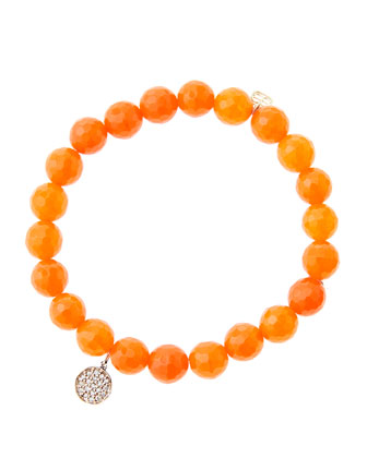 8mm Faceted Orange Agate Beaded Bracelet with Mini Rose Gold Pave Diamond ...