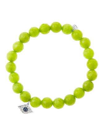 8mm Faceted Lime Jade Beaded Bracelet with 14k White Gold/Diamond Small ...