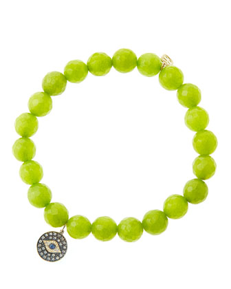 8mm Faceted Lime Jade Beaded Bracelet with 14k Gold/Rhodium Diamond Small ...