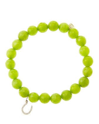 8mm Faceted Lime Jade Beaded Bracelet with 14k Yellow Gold/Micropave ...