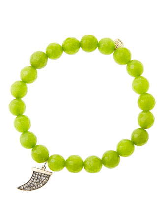 8mm Faceted Lime Jade Beaded Bracelet with 14k Gold/Diamond Medium Horn ...