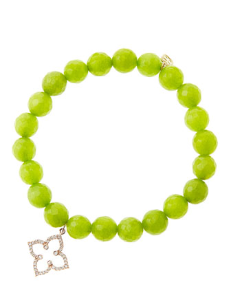 8mm Faceted Lime Jade Beaded Bracelet with 14k Rose Gold/Diamond Moroccan ...