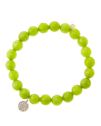 8mm Faceted Lime Jade Beaded Bracelet with Mini Yellow Gold Pave Diamond ...