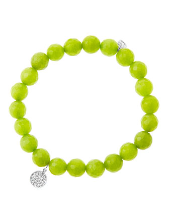 8mm Faceted Lime Jade Beaded Bracelet with Mini White Gold Pave Diamond ...
