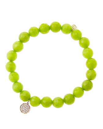 8mm Faceted Lime Jade Beaded Bracelet with Mini Rose Gold Pave Diamond ...