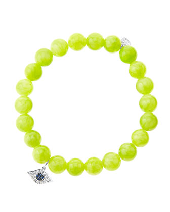 8mm Smooth Lime Jade Beaded Bracelet with 14k White Gold/Diamond Small Evil ...