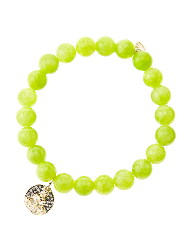 8mm Smooth Lime Jade Beaded Bracelet with 14k Gold/Diamond Sitting Buddha Charm