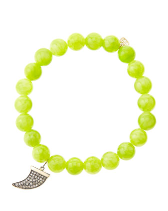 8mm Smooth Lime Jade Beaded Bracelet with 14k Gold/Diamond Medium Horn ...