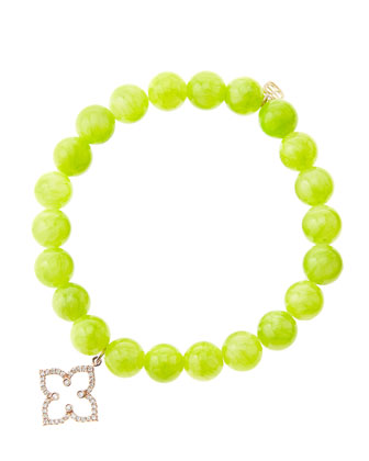 8mm Smooth Lime Jade Beaded Bracelet with 14k Rose Gold/Diamond Moroccan ...