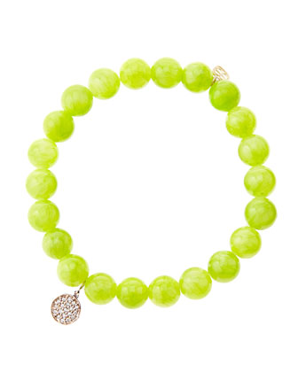 8mm Smooth Lime Jade Beaded Bracelet with Mini Rose Gold Pave Diamond ...