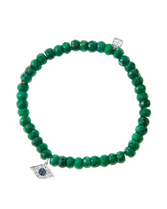 6mm Faceted Emerald Beaded Bracelet with 14k White Gold/Diamond Small Evil ...