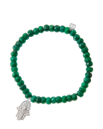 6mm Faceted Emerald Beaded Bracelet with 14k White Gold/Diamond Medium ...