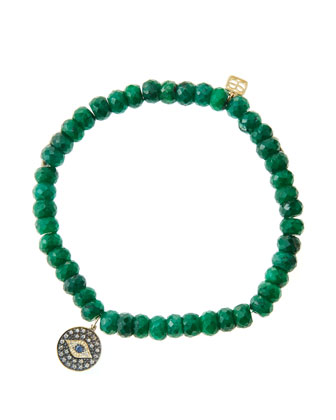 6mm Faceted Emerald Beaded Bracelet with 14k Gold/Rhodium Diamond Small ...