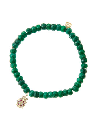 6mm Faceted Emerald Beaded Bracelet with 14k Gold/Diamond Medium Ladybug ...