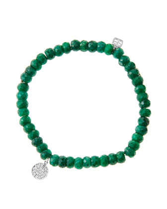 6mm Faceted Emerald Beaded Bracelet with Mini White Gold Pave Diamond Disc ...