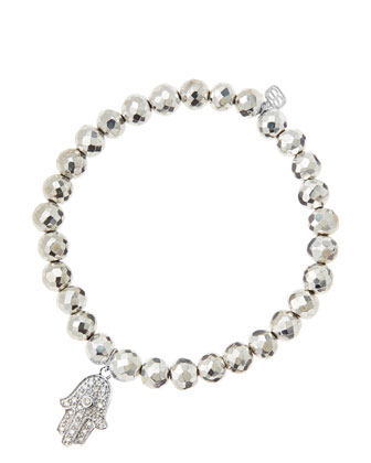 6mm Faceted Silver Pyrite Beaded Bracelet with 14k White Gold/Diamond ...