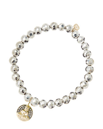 6mm Faceted Silver Pyrite Beaded Bracelet with 14k Gold/Diamond Sitting ...