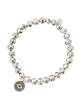 6mm Faceted Silver Pyrite Beaded Bracelet with 14k Gold/Rhodium Diamond ...
