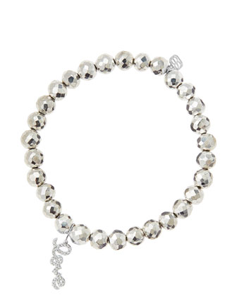 6mm Faceted Silver Pyrite Beaded Bracelet with 14k White Gold/Diamond Love ...