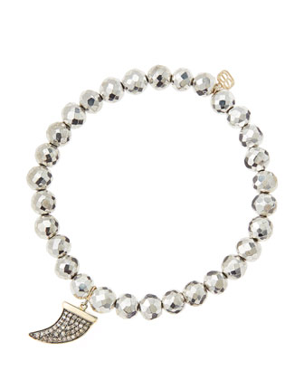 6mm Faceted Silver Pyrite Beaded Bracelet with 14k Gold/Diamond Medium Horn ...