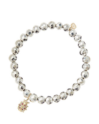 6mm Faceted Silver Pyrite Beaded Bracelet with 14k Gold/Diamond Medium ...