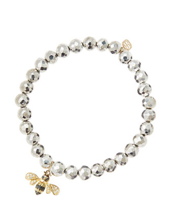 6mm Faceted Silver Pyrite Beaded Bracelet with 14k Gold/Diamond Bee Charm ...
