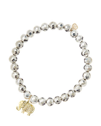 6mm Faceted Silver Pyrite Beaded Bracelet with 14k Gold/Diamond Small ...