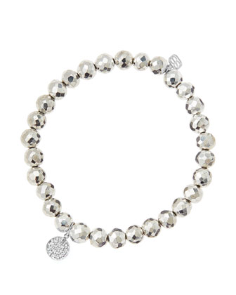 6mm Faceted Silver Pyrite Beaded Bracelet with Mini White Gold Pave Diamond ...