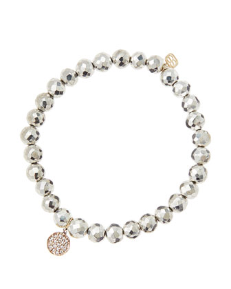6mm Faceted Silver Pyrite Beaded Bracelet with Mini Rose Gold Pave Diamond ...