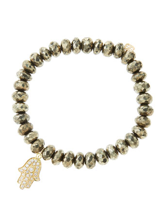 8mm Faceted Champagne Pyrite Beaded Bracelet with 14k Yellow Gold/Diamond ...