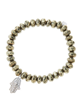 8mm Faceted Champagne Pyrite Beaded Bracelet with 14k White Gold/Diamond ...