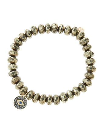 8mm Faceted Champagne Pyrite Beaded Bracelet with 14k Gold/Rhodium Diamond ...
