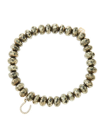 8mm Faceted Champagne Pyrite Beaded Bracelet with 14k Yellow Gold/Micropave ...