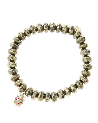 8mm Faceted Champagne Pyrite Beaded Bracelet with 14k Gold/Diamond Medium ...