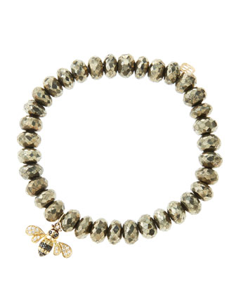 8mm Faceted Champagne Pyrite Beaded Bracelet with 14k Gold/Diamond Bee ...