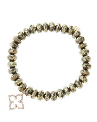 8mm Faceted Champagne Pyrite Beaded Bracelet with 14k Rose Gold/Diamond ...