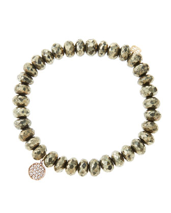 8mm Faceted Champagne Pyrite Beaded Bracelet with Mini Rose Gold Pave ...