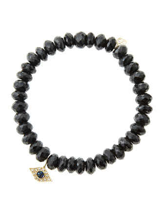 8mm Faceted Black Spinel Beaded Bracelet with 14k Yellow Gold/Diamond Small ...