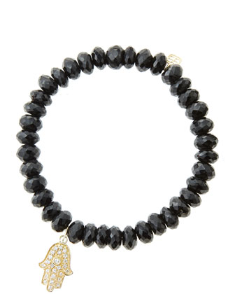 8mm Faceted Black Spinel Beaded Bracelet with 14k Yellow Gold/Diamond ...