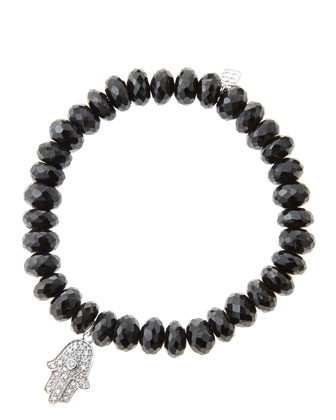 8mm Faceted Black Spinel Beaded Bracelet with 14k White Gold/Diamond Medium ...