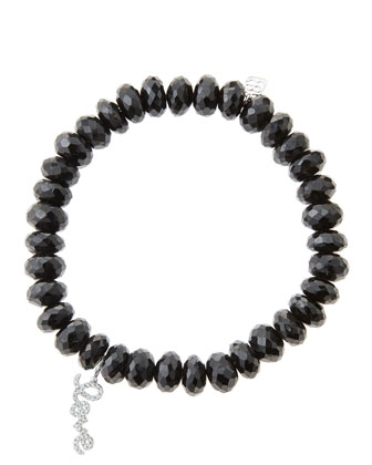 8mm Faceted Black Spinel Beaded Bracelet with 14k White Gold/Diamond Love ...